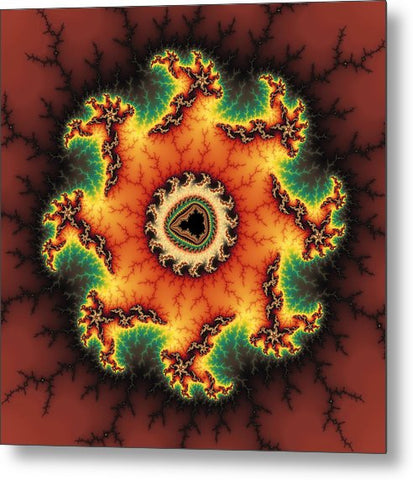 Orange Green And Yellow Fractal Artwork - Metal Print