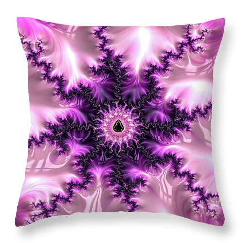 Pink And Purple Abstract Fractal - Throw Pillow