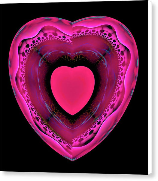 Pink And Red Heart On Black - Canvas Print