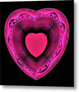 Pink And Red Heart On Black - Metal Print