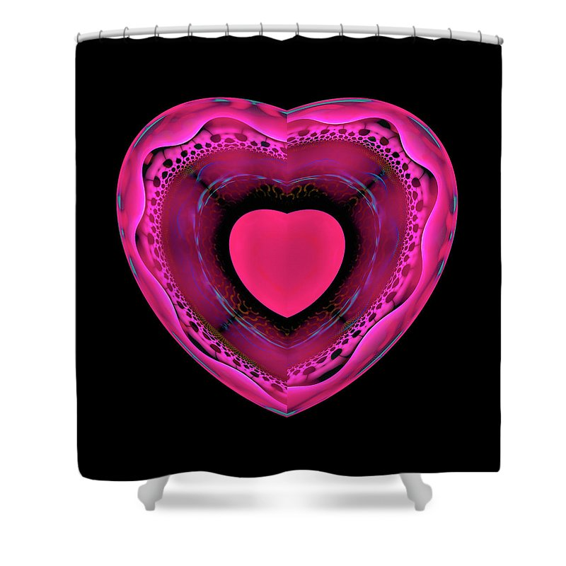 Pink And Red Heart On Black - Shower Curtain