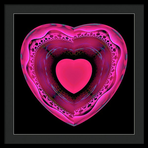 Pink And Red Heart On Black - Framed Print