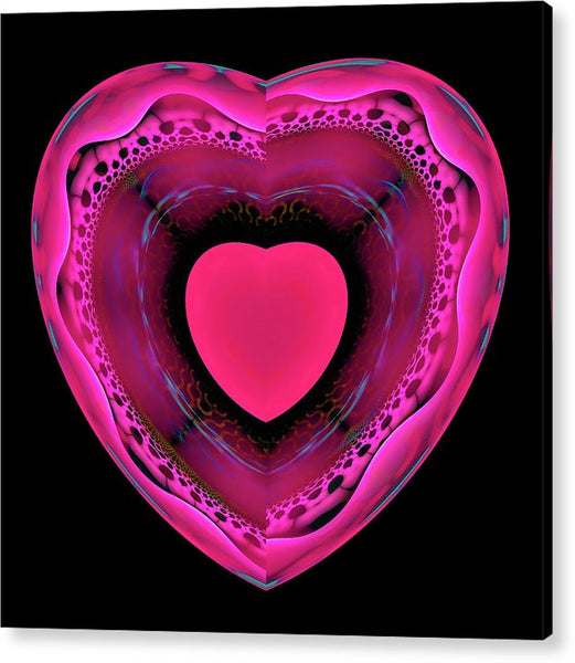 Pink And Red Heart On Black - Acrylic Print
