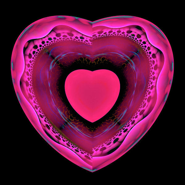 Pink And Red Heart On Black - Art Print