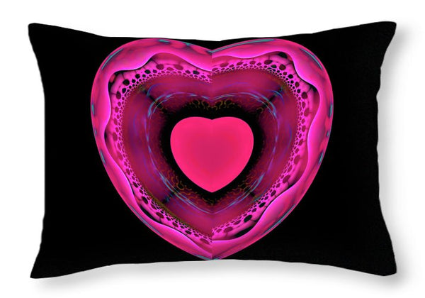 Pink And Red Heart On Black - Throw Pillow