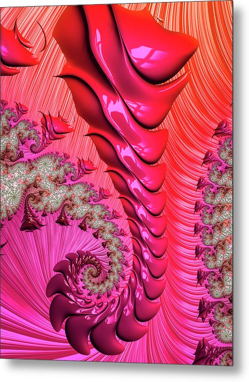 Pink And Red Trippy Fractal Spiral - Metal Print