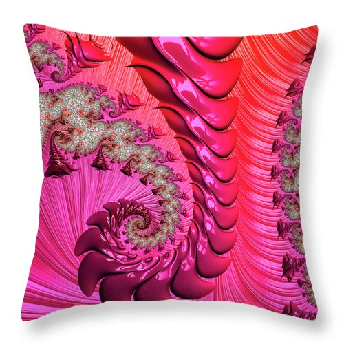 Pink And Red Trippy Fractal Spiral - Throw Pillow