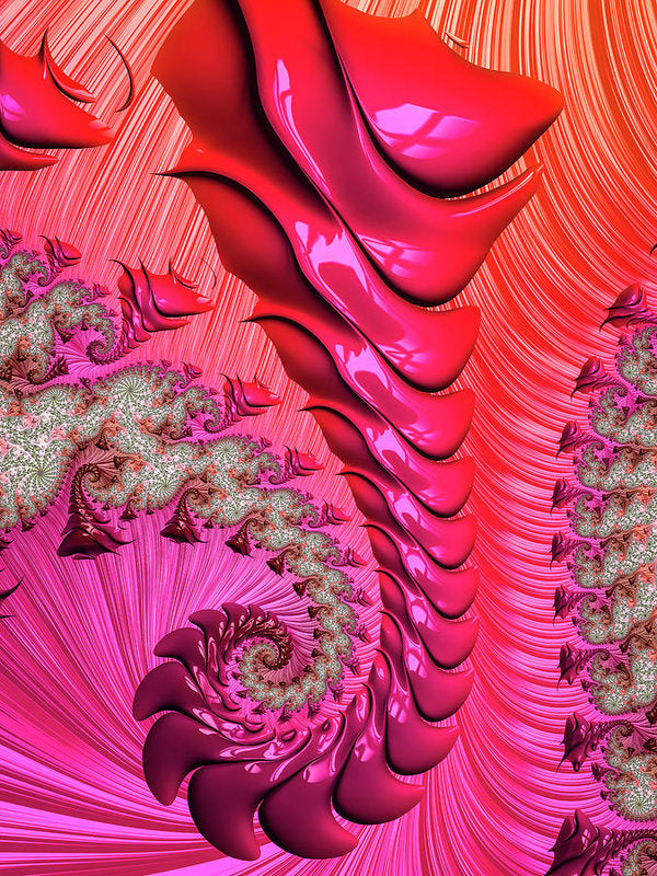 Pink And Red Trippy Fractal Spiral - Art Print
