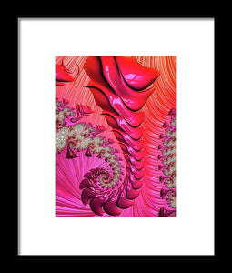 Pink And Red Trippy Fractal Spiral - Framed Print