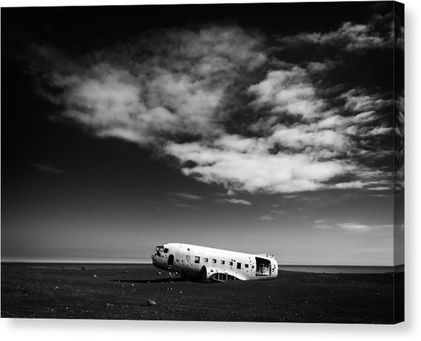Plane Wreck Black And White Iceland - Canvas Print