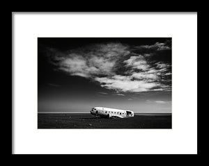 Plane Wreck Black And White Iceland - Framed Print