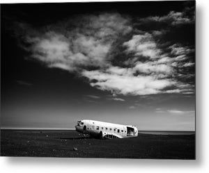 Plane Wreck Black And White Iceland - Metal Print