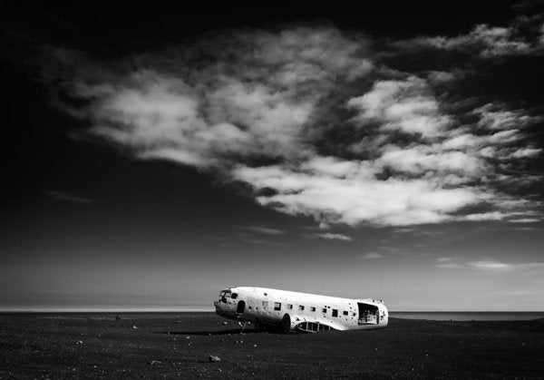 Plane Wreck Black And White Iceland - Art Print