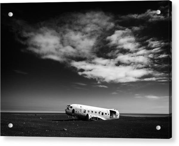 Plane Wreck Black And White Iceland - Acrylic Print