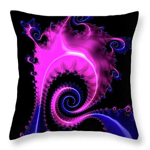Purple And Blue Spiral Fractal Art - Throw Pillow