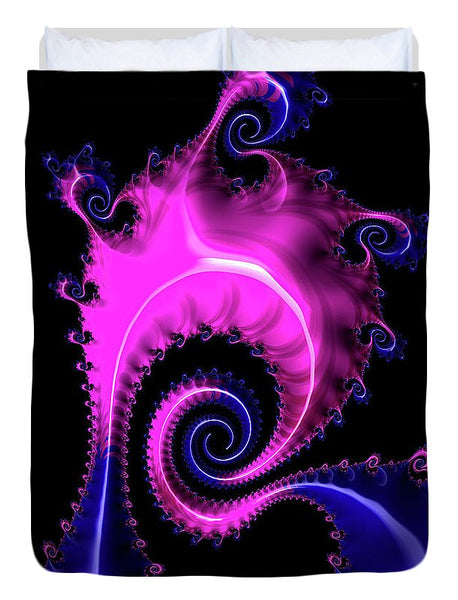 Purple And Blue Spiral Fractal Art - Duvet Cover