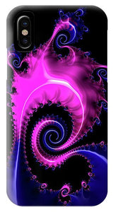 Purple And Blue Spiral Fractal Art - Phone Case