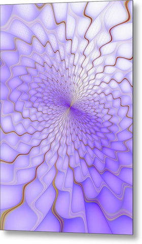 Purple And Golden Fractal Explosion - Metal Print