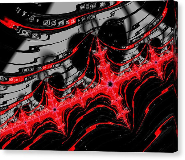 Red And Black Digital Fractal Artwork - Canvas Print