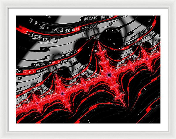 Red And Black Digital Fractal Artwork - Framed Print
