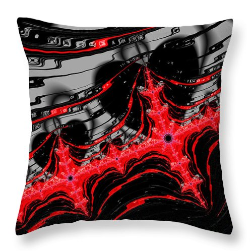 Red And Black Digital Fractal Artwork - Throw Pillow