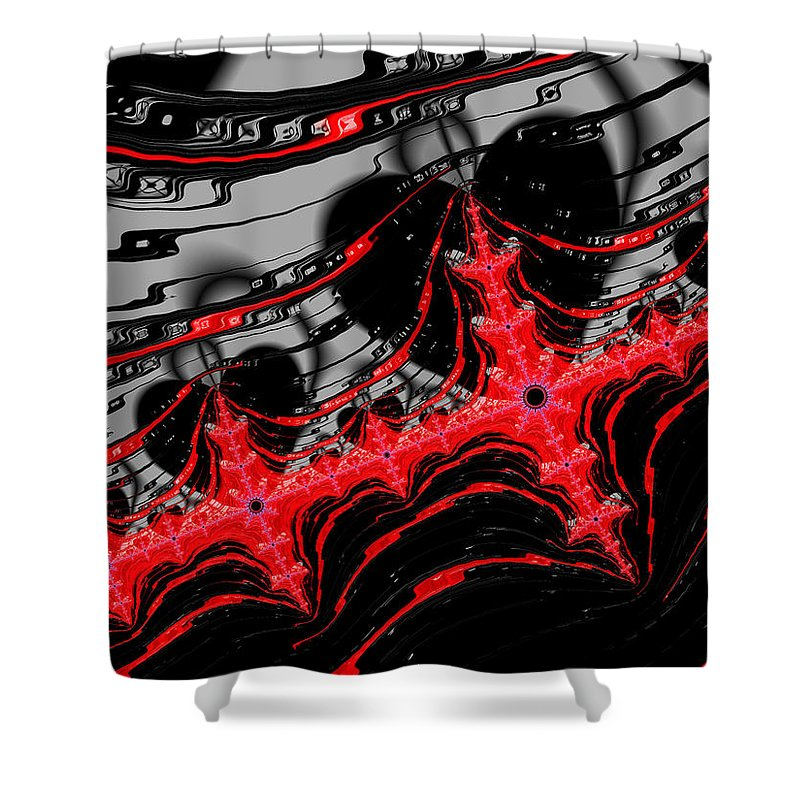 Red And Black Digital Fractal Artwork - Shower Curtain
