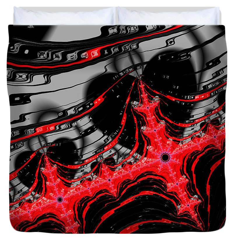 Red And Black Digital Fractal Artwork - Duvet Cover