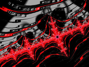 Red And Black Digital Fractal Artwork - Art Print