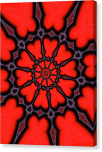 Red And Black Kaleidoscope Art - Canvas Print