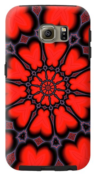 Red And Black Kaleidoscope Art - Phone Case