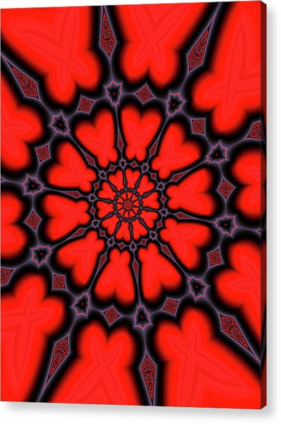Red And Black Kaleidoscope Art - Acrylic Print