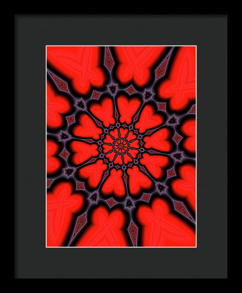 Red And Black Kaleidoscope Art - Framed Print