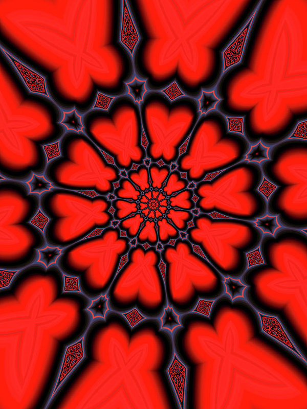 Red And Black Kaleidoscope Art - Art Print
