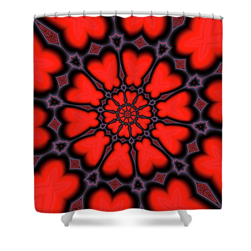 Red And Black Kaleidoscope Art - Shower Curtain