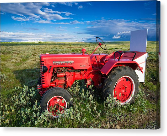 Red Tractor In Iceland - Canvas Print