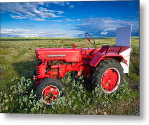 Red Tractor In Iceland - Metal Print