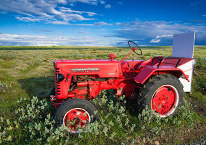 Red Tractor In Iceland - Art Print