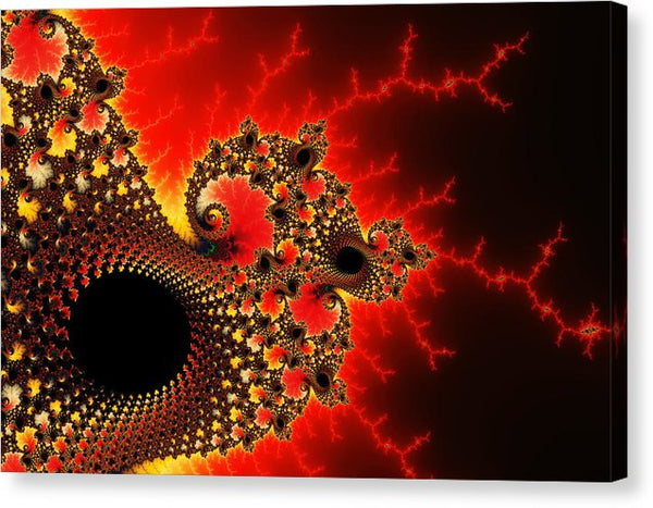 Red Yellow And Black Fractal Flashes And Spirals - Canvas Print
