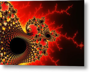 Red Yellow And Black Fractal Flashes And Spirals - Metal Print