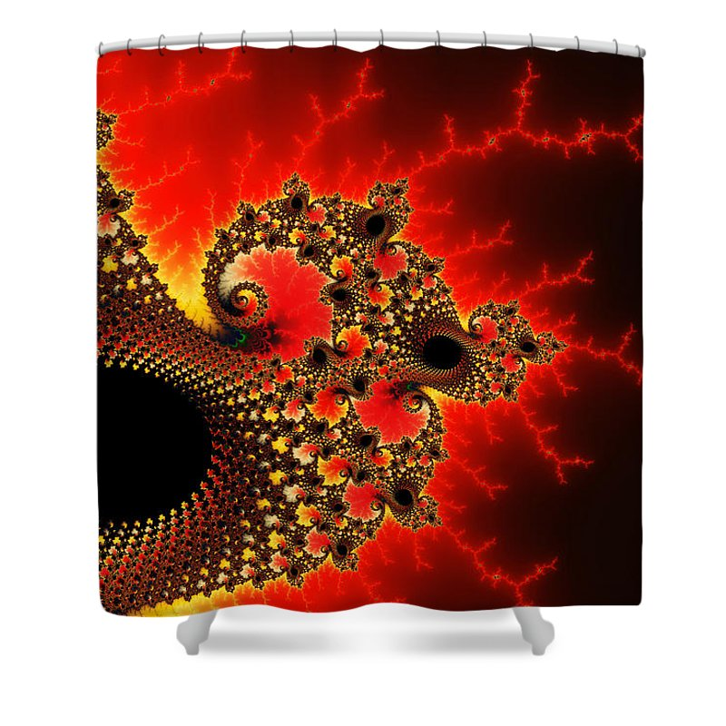 Red Yellow And Black Fractal Flashes And Spirals - Shower Curtain