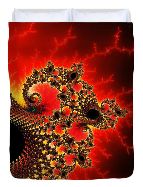 Red Yellow And Black Fractal Flashes And Spirals - Duvet Cover