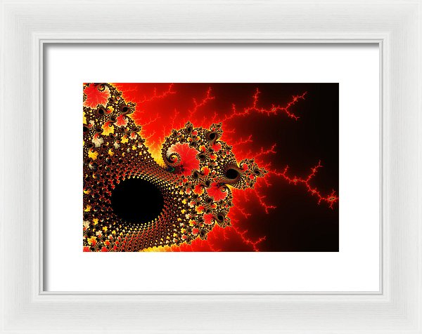 Red Yellow And Black Fractal Flashes And Spirals - Framed Print