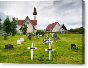 Reykholt Iceland Church And Graveyard - Canvas Print