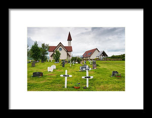Reykholt Iceland Church And Graveyard - Framed Print