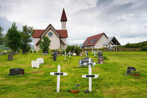 Reykholt Iceland Church And Graveyard - Art Print