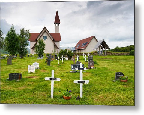 Reykholt Iceland Church And Graveyard - Metal Print