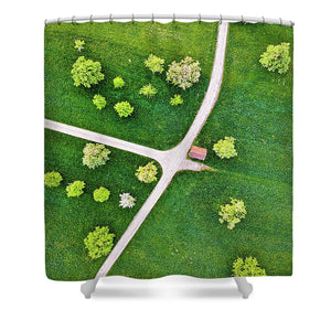 Roads And Green Spring Meadow With Trees From Above - Shower Curtain