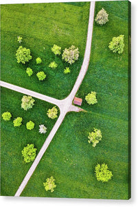 Roads And Green Spring Meadow With Trees From Above - Acrylic Print