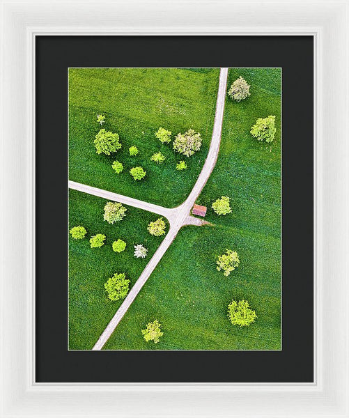 Roads And Green Spring Meadow With Trees From Above - Framed Print