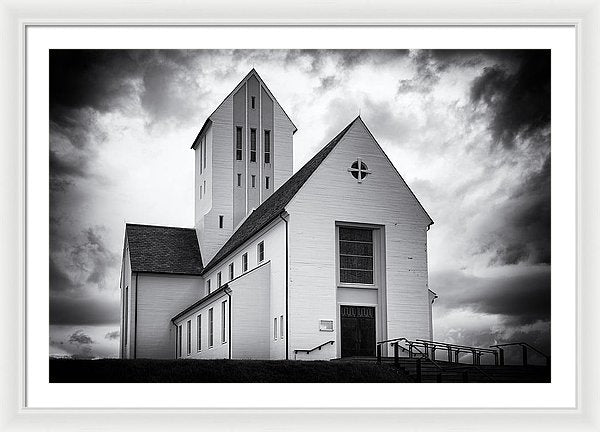 Skalholt Church Iceland Black And White - Framed Print